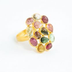 Tourmaline Jali Cocktail Ring Adjustable